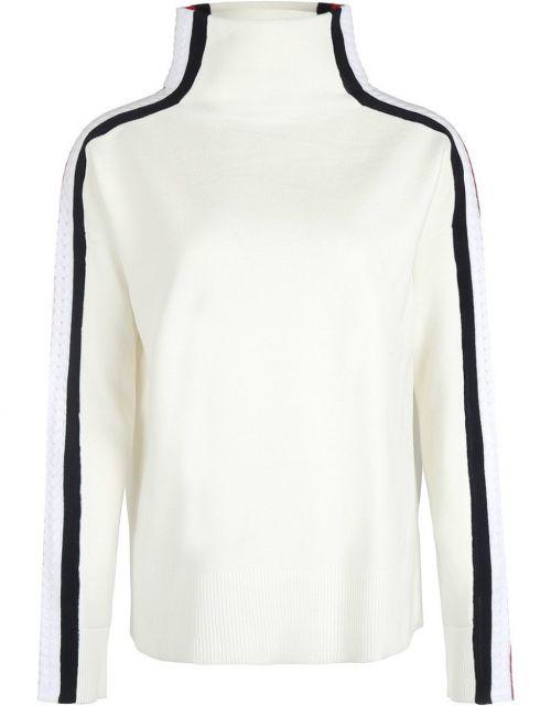 Side Stripe Mock-NK Sweater LS